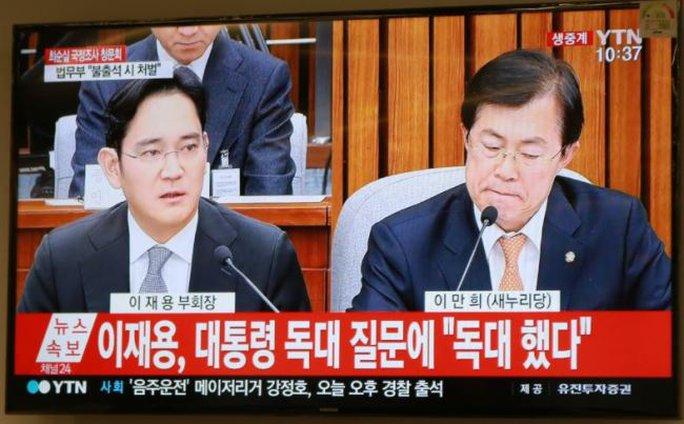 Ông Lee Jae-yong (trái) tại buổi điều trần ngày 6-12 Ảnh: YONHAP