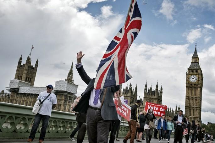 Người biểu tình kêu gọi Anh bỏ phiếu rời khỏi Liên minh châu Âu (EU) vào ngày 15-6 tại thủ đô London. Ảnh: The New York Times