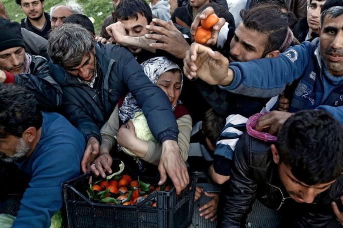 Thực phẩm được phân phát tại một trại tị nạn ở Hy Lạp. Hơn 40.000 người di cư bị mắc kẹt ở Hy Lạp khi tuyến đường chính đến Đức bị đóng cửa hôm 11-3. Ảnh: EPA