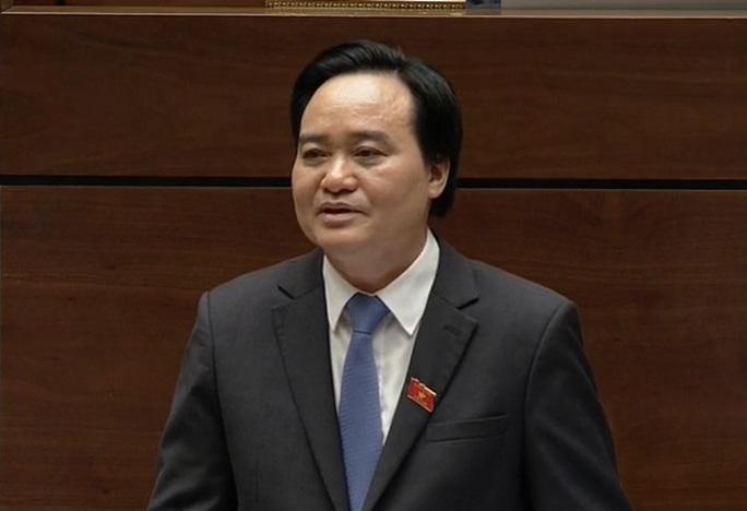 Bộ trưởng Bộ Giáo dục và Đào tạo Phùng Xuân Nhạ trả lời chất vấn sáng 16-11 - Ảnh chụp qua màn hình
