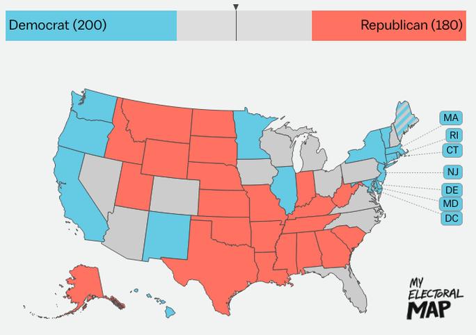 Các bang ủng hộ dân chủ (màu xanh) và ủng hộ phe cộng hòa (màu cam). Ảnh: Vox
