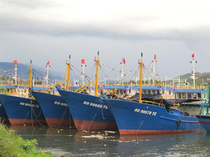 Tàu vỏ thép BĐ 99939 TS (ở ngoài cùng bên trái) trị giá 17 tỉ đồng vừa đưa vào hoạt động đã bị sóng đánh chìm