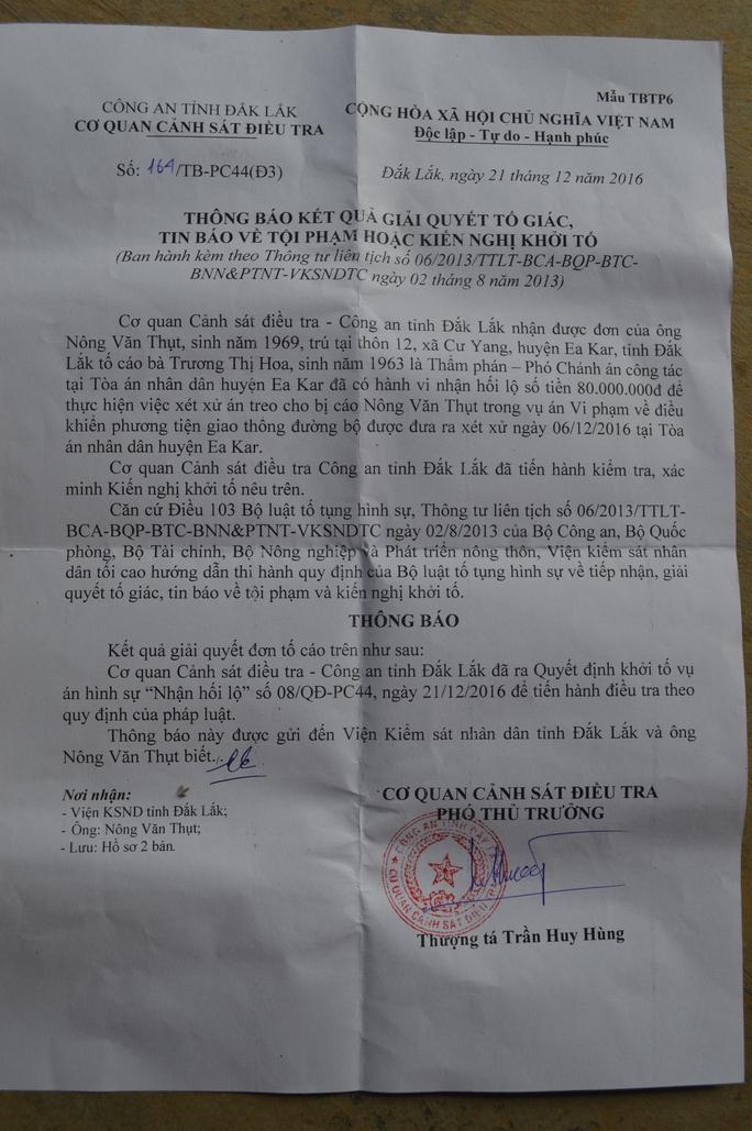 Thông báo quyết định khởi tố của Công an tỉnh Đắk Lắk