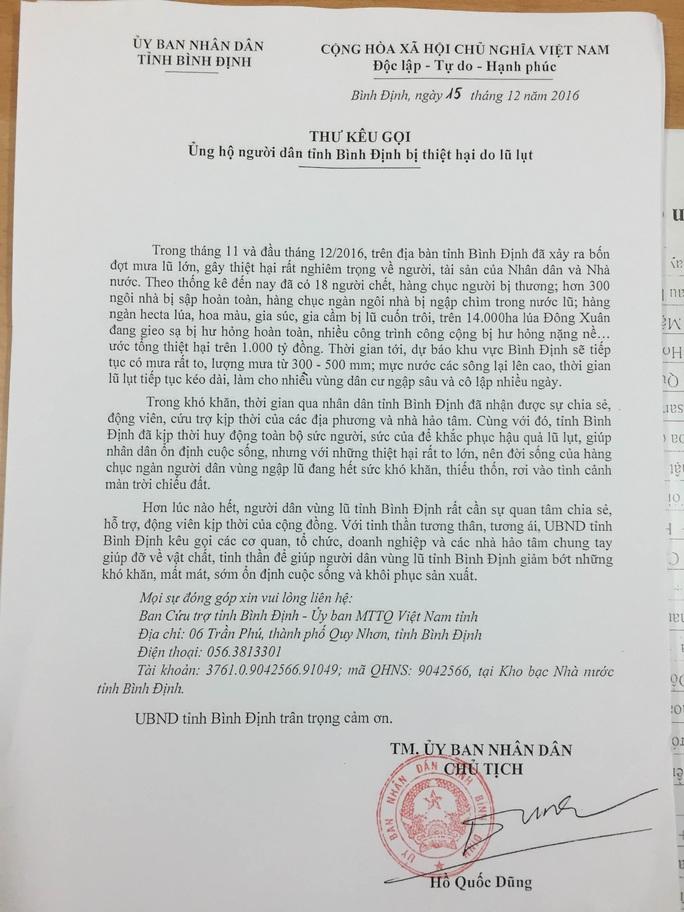 Thư kêu gọi ủng hộ người dân bị thiệt hại do lũ lụt của Chủ tịch UBND tỉnh Bình Định