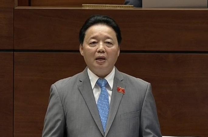 Bộ trưởng Bộ Tài nguyên và Môi trường Trần Hồng Hà trả lời chất vấn của đại biểu - Ảnh chụp qua màn hình