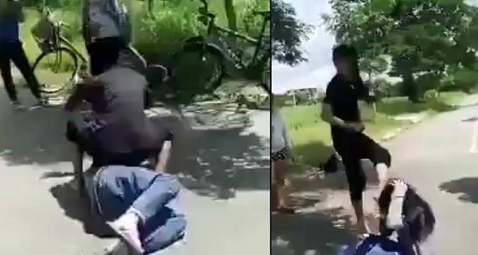 Hình ảnh ghi lại cảnh nữ sinh bị đánh hội đồng tại huyện Nhà Bè (TP HCM)