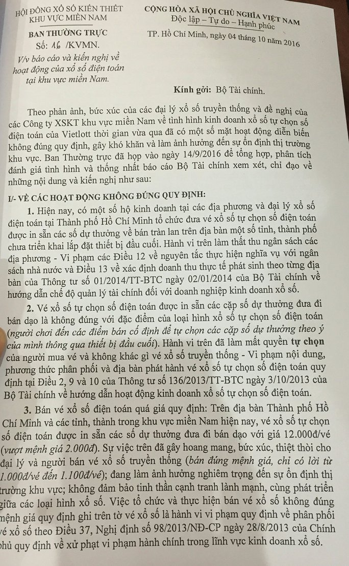 Văn bản gửi Bộ Tài chính đề nghị chấn chính hình thức xổ số điện toán