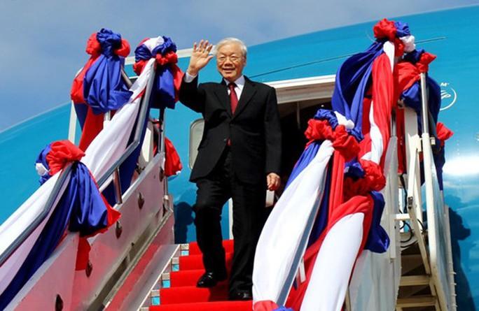 Tổng Bí thư Nguyễn Phú Trọng bắt đầu chuyến thăm CHDCND Lào - Ảnh: VOV