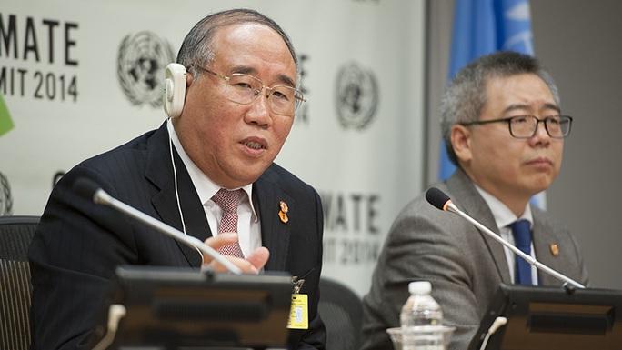 Ông Xie Zhenhua (trái), nhà đàm phán hàng đầu về biến đổi khí hậu của Trung Quốc. Ảnh: UN Photo