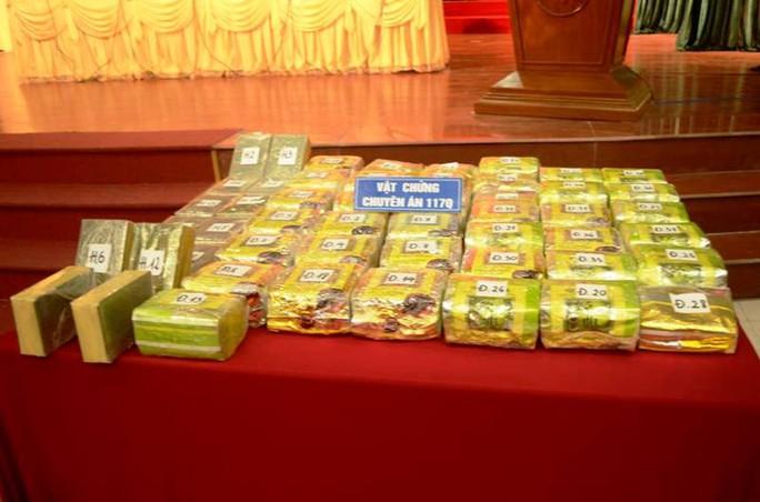 45 kg ma túy đá và 30 bánh heroin tang vật bị Công an tỉnh Nam Định thu giữ khi triệt phá đường dây buôn bán ma túy lớn