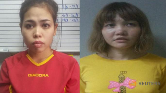 Hai nghi phạm bị cảnh sát Malaysia bắt, gồm Siti Aisyah (Indonesia, trái) và Doan Thi Huong (Việt Nam, phải). Ảnh: REUTERS