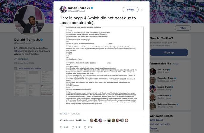 Email con trai Tổng thống Donald Trump làm chao đảo chứng khoán - Ảnh 1.