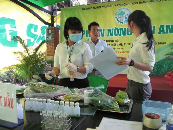 Xét nghiệm nhanh thuốc bảo vệ thực vật tại chợ phiên nông sản an toàn