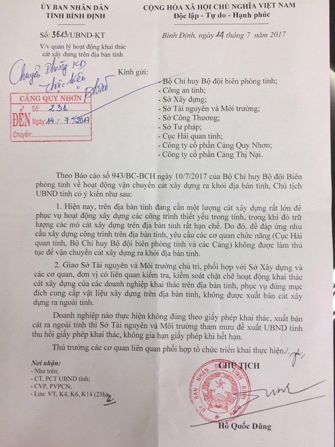Bình Định ban hành lệnh cấm xuất cát xây dựng ra ngoài tỉnh - Ảnh 1.