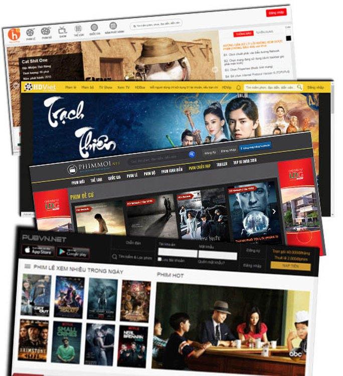 Những trang phim trực tuyến bị cho là vi phạm bản quyền. (Ảnh chụp màn hình)