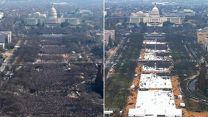 Ảnh chụp Quảng trường Quốc gia (National Mall) từ trên không vào ngày nhậm chức của ông Obama năm 2009 (trái) và vào lễ nhậm chức của ông Trump sáng 20-1. Ảnh: AP
