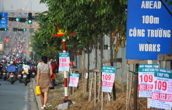 Băng rôn, tờ rơi treo tràn lan trên thân cây, cột điện ở xa lộ Hà Nội, quận Thủ Đức, TP HCMẢnh: Quốc Chiến