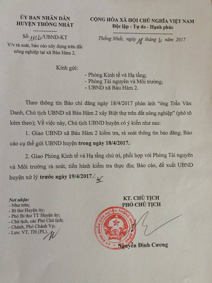 Ngay sau khi báo Người Lao Động đăng bài, UBND huyện Thống Nhất đã có văn bản chỉ đạo kiểm tra, rà soát