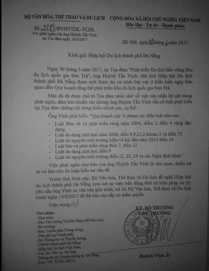 Bộ VH-TT-DL yêu cầu xử lý phát ngôn của ông Huỳnh Tấn Vinh về Sơn Trà - Ảnh 2.