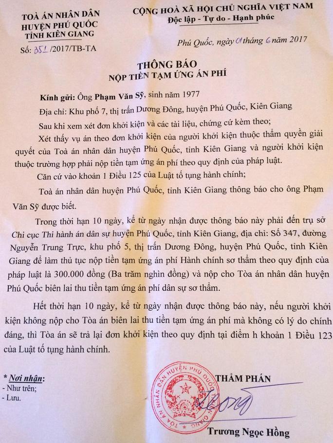 Trưởng Công an huyện Phú Quốc bị dân khởi kiện - Ảnh 2.