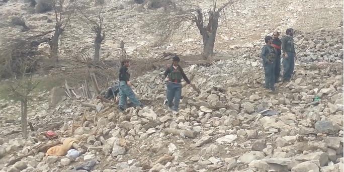 Hiện trường vụ thả bom GBU-43/B MOAB tại tỉnh Nangarhar. Ảnh: YOUTUBE