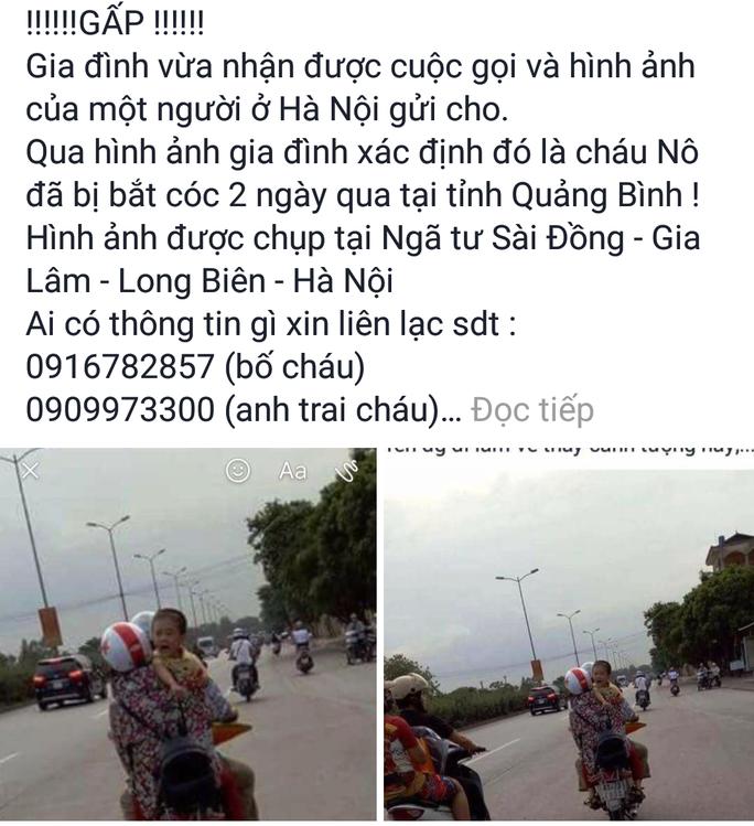 Bé trai mất tích ở Quảng Bình được phát hiện tại Hà Nội ? - Ảnh 2.