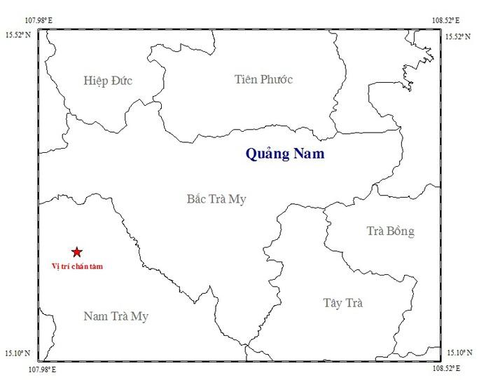 Bản đồ chấn tâm trận động đất sáng 1-3 Ảnh: Viện Vật lý địa cầu