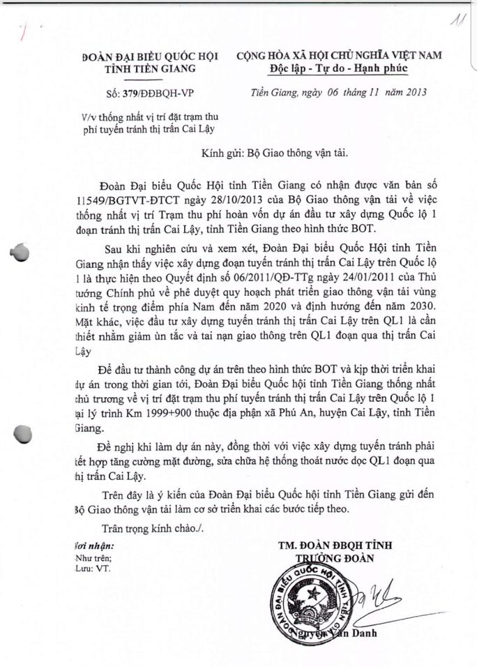BOT Cai Lậy: Đoàn ĐBQH Tiền Giang lên tiếng - Ảnh 1.