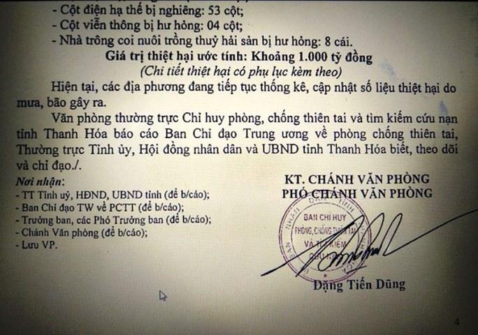 Báo cáo Thủ tướng, Thanh Hóa ước tính thiệt hại 980 tỉ đồng do bão - Ảnh 1.