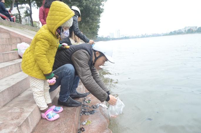 Người dân Thủ đô nhộn nhịp đi thả cá chép ở các sông hồ trong ngày 23 tháng Chạp