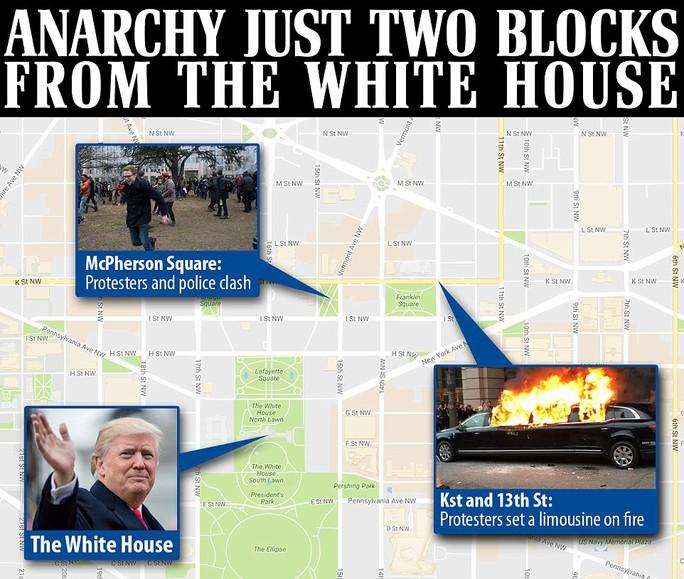 Các vụ bạo loạn nổ ra gần Nhà Trắng, nơi ông Trump tuyên thệ nhậm chức. Ảnh: Daily Mail