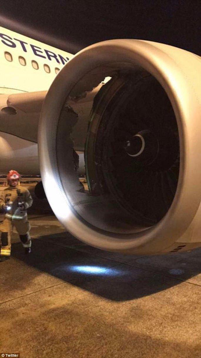Máy bay thủng lỗ lớn trên động cơ ngay sau khi cất cánh - Ảnh 2.