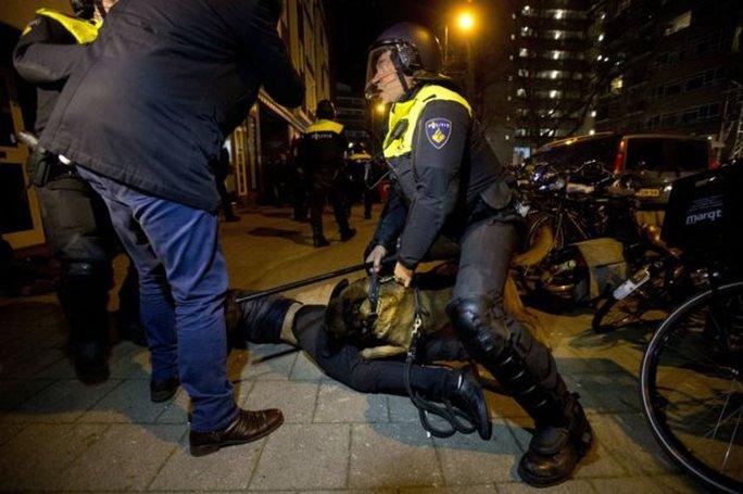 Cảnh sát Hà Lan dùng chó nghiệp vụ giải tán người biểu tình ở TP Rotterdam. Ảnh: AP