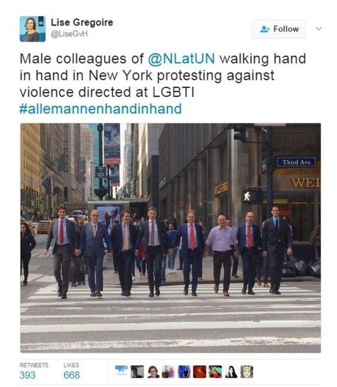 Phái đoàn Hà Lan tại Liên Hiệp Quốc ở New York cũng tham gia trào lưu này. Ảnh: BBC