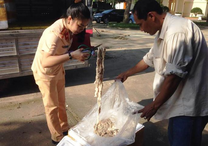 Mang 1,6 tấn nội tạng đang phân hủy tới Hà Nội tiêu thụ - Ảnh 1.
