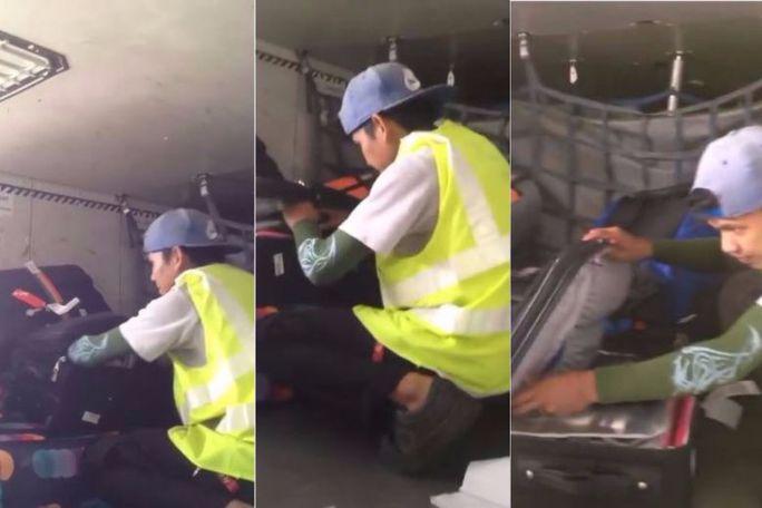 Không biết bị quay phim, nhân viên sân bay vô tư trộm hành lý - Ảnh 1.