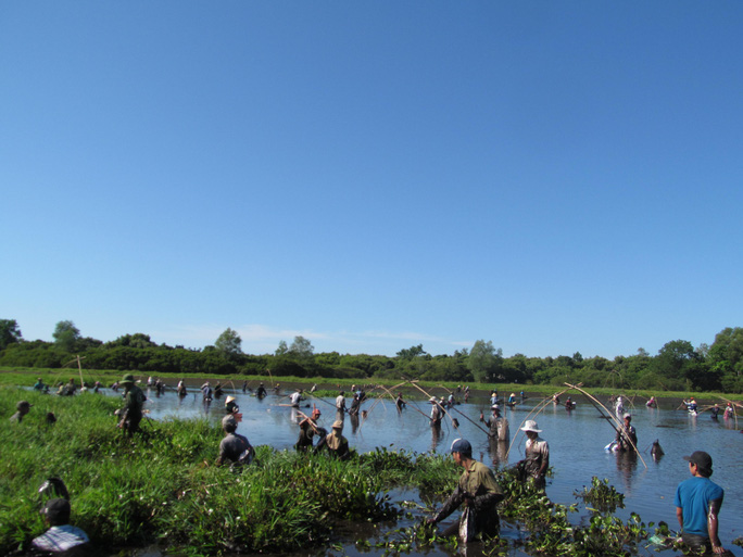 Độc đáo lễ hội phá trằm bắt cá, huyên náo cả vùng đầm nước - Ảnh 2.