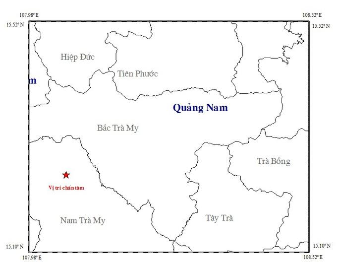 Bản đồ chấn tâm trận động đất xảy ra lúc 11 giờ 20 phút