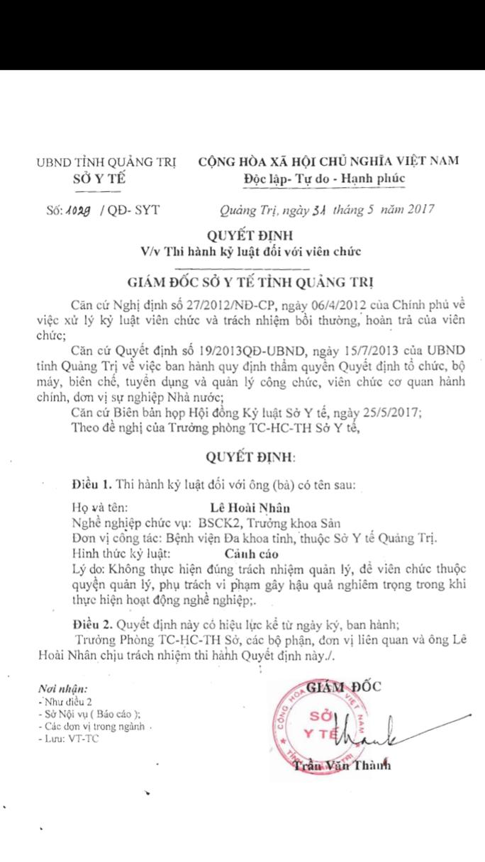 Vụ sản phụ tử vong ở Quảng Trị: Kỷ luật cảnh cáo Trưởng khoa sản - Ảnh 1.