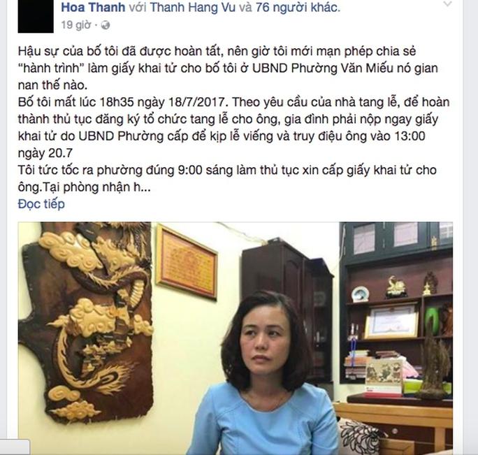 Chủ tịch Hà Nội yêu cầu làm rõ vụ gây khó cấp giấy khai tử - Ảnh 1.