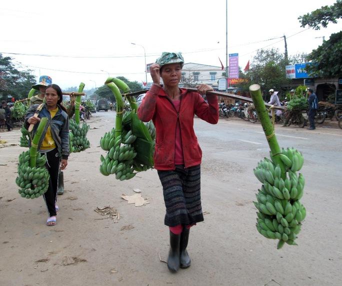 Nhiều chị phụ nữ người đồng bào Vân Kiều, Pa Cô gánh chuối đến bày bán