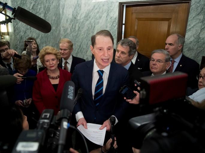 Thành viên Đảng Dân chủ giải thích quyết định tẩy chay hôm 31-1. Ảnh: AP