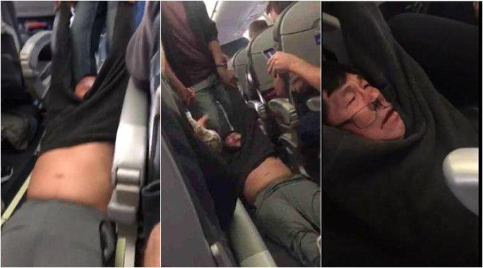 Người đàn ông bị lôi ra khỏi máy bay. Ảnh: Facebook