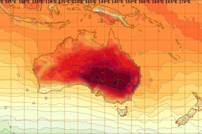 Hình ảnh vệ tinh cho thấy đợt nắng nóng kỷ lục ở Úc. Ảnh: Mirror
