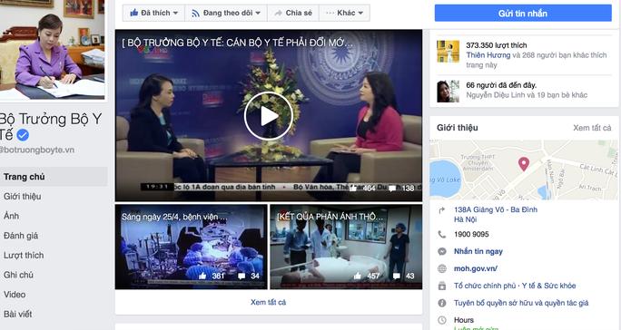 Fanpage Bộ trưởng Bộ Y tế đã có hơn 373.000 người theo dõi
