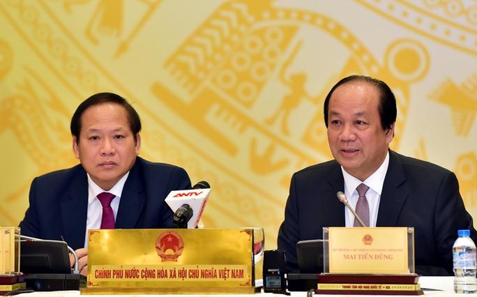 Bộ trưởng Trương Minh Tuấn và Bộ trưởng Mai Tiến Dũng tại buổi họp báo ngày 3-2 - Ảnh: chinhphu.vn