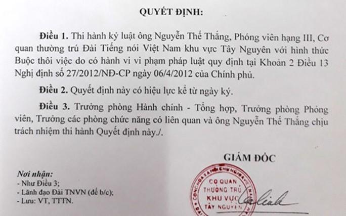 Khởi tố phóng viên VOV cưỡng đoạt tài sản - Ảnh 1.