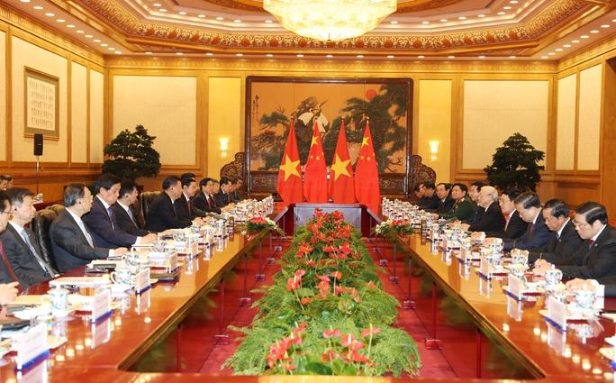 Tổng Bí thư Nguyễn Phú Trọng hội đàm với Tổng Bí thư - Chủ tịch Trung Quốc Tập Cận BìnhẢnh: TTXVN