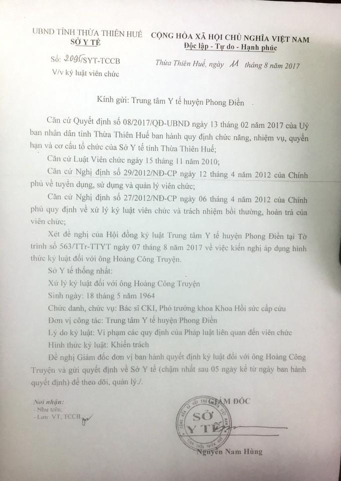 Không rút lại quyết định kỷ luật BS Truyện nếu Sở TT-TT giữ nguyên xử phạt - Ảnh 1.