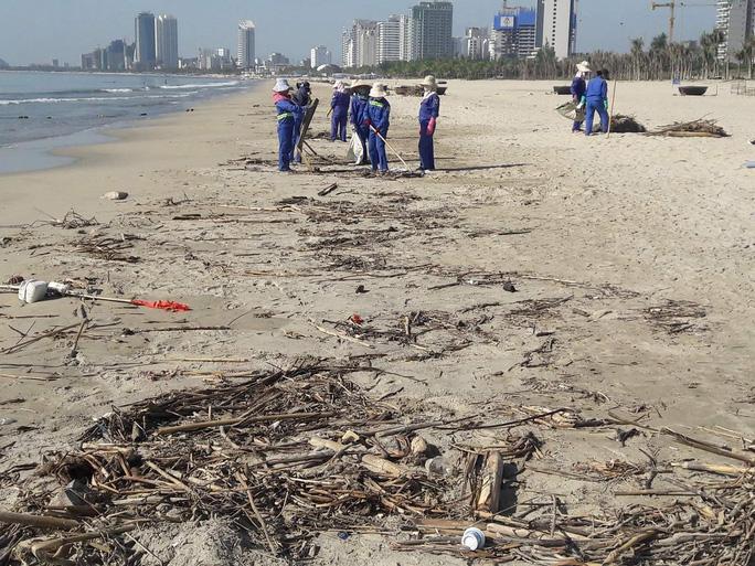 Đà Nẵng:  Hơn 30 tấn rác tấp vào bãi biển gây ô nhiễm nặng - Ảnh 1.